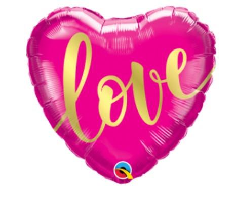 """Q 18"""" Love Gold Script Foil Balloon - Pkg. Шар воздушный фольгированный Сердце, В УП"""