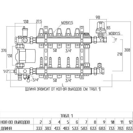 """Коллекторная группа Icma 1"""" 12 выходов, с расходомером №A2K013, фото 2"""