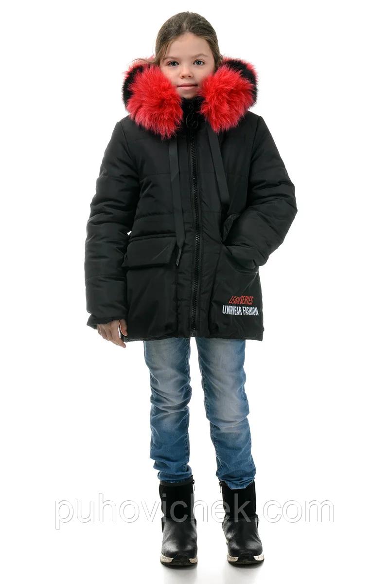 Детскую зимнюю куртку пуховик для девочки с натуральным мехом