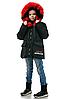 Детскую зимнюю куртку пуховик для девочки с натуральным мехом, фото 3