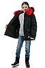 Детскую зимнюю куртку пуховик для девочки с натуральным мехом, фото 4