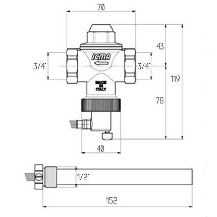 "Клапан теплового сброса Icma 3/4"" №608, фото 2"