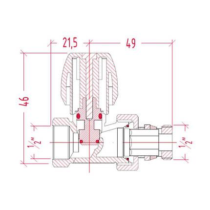 """Кран радиаторный Icma 1/2"""" с антипротечкой прямой №1117, фото 2"""