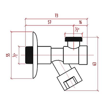 """Кран приборный буксовый Icma 1/2"""" угловой №518, фото 2"""