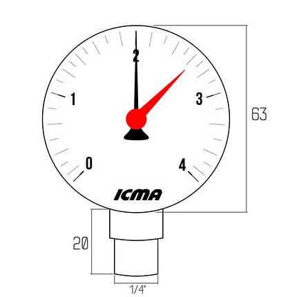 """Манометр Icma 1/4"""" 0-4 бар, нижнее подключение №244, фото 2"""