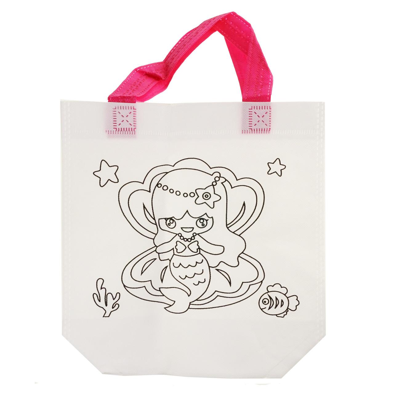 Детская сумка раскраска Русалка - эко сумка набор для раскрашивания с фломастерами