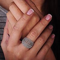 Серебряное кольцо  GS  с фианитами (родий), фото 1