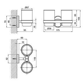 Стакан двойной Lidz (CRG)-114.04.02 с держателем зубных щеток, фото 2