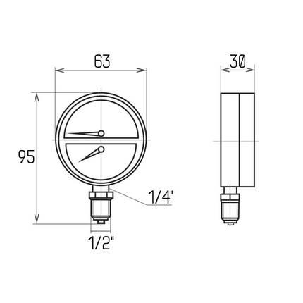 "Термоманометр Icma 1/2"" 0-4 бар, нижнее подключение №258, фото 2"