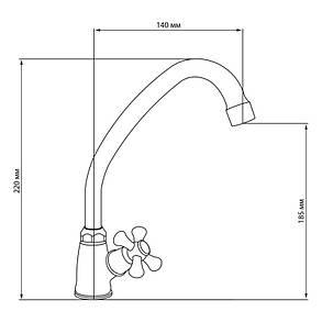 Кран на одну воду для кухни Lidz (CRM)-30 21 269 00, фото 2