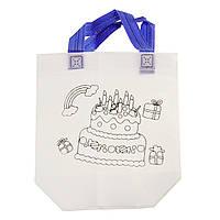 Детская сумка раскраска Торт - эко сумка набор для раскрашивания с фломастерами, фото 1