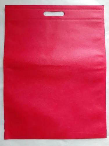 Эко-сумка из спанбонда с прорезными ручками, плоская, 34*46 см, красная