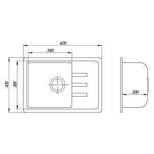 Кухонная мойка Lidz 620x435/200 COL-06 (LIDZCOL06620435200), фото 2