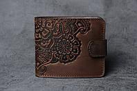 Шоколадный кожаный кошелек с орнаментом ручной работы, женский кошелек