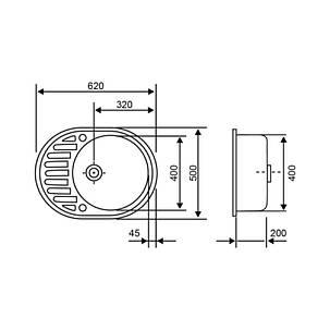 Кухонная мойка Lidz 620x500/200 STO-10 (LIDZSTO10620500200), фото 2