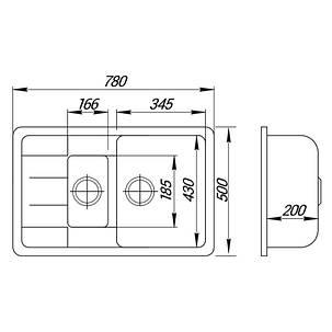 Кухонная мойка Lidz 780x495/200 BLA-03 (LIDZBLA03780495200), фото 2