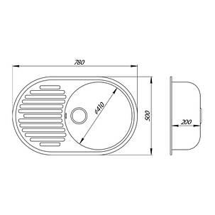 Кухонная мойка Lidz 780x500/200 COL-06 (LIDZCOL06780500200), фото 2
