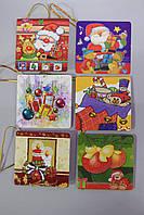 Набор Новогодние открытки теги (бирки) 6шт для подписи подарков с новогодним рисунком 5,5 *5,5