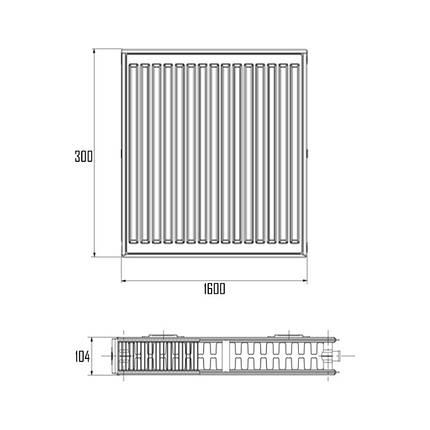 Радиатор стальной Aquatronic 22-К 300х1600 боковое подключение, фото 2