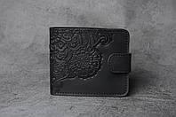 Чёрный кожаный кошелек с орнаментом ручной работы, женский кошелек, фото 1