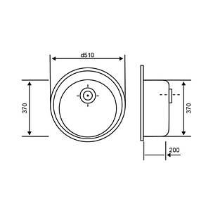 Кухонная мойка Lidz D510/200 BLA-03 (LIDZBLA03D510200), фото 2