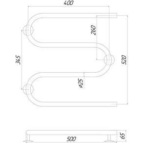 Полотенцесушитель электрический Lidz Snake (CRM) 500x500 RE, фото 2
