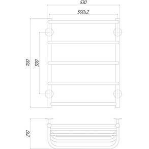 Полотенцесушитель электрический Lidz Standard shelf (CRM) P5 500x700 LE с полкой, фото 2