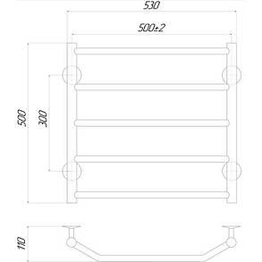 Полотенцесушитель электрический Lidz Trapezium (CRM) P5 500x500 LE, фото 2