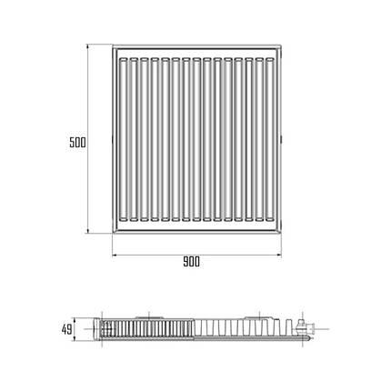 Радиатор стальной Aquatronic 11-К 500х900 боковое подключение, фото 2