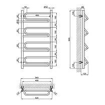 """Водяной полотенцесушитель Lidz Zigzag (CRM) D32/20х1/2"""" 500x1000 P4, фото 2"""