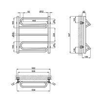 """Водяной полотенцесушитель Lidz Zigzag (CRM) D32/20х1/2"""" 500x600 P2, фото 2"""