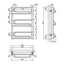 """Водяной полотенцесушитель Lidz Zigzag (CRM) D32/20х1/2"""" 500x800 P3, фото 2"""