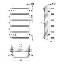 "Водяной полотенцесушитель Lidz Standard (CRM) D32/20х1/2"" 400x800 P6, фото 3"