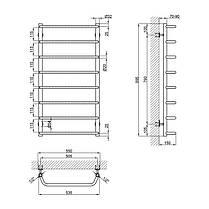 "Водяной полотенцесушитель Lidz Standard (CRM) D32/20х1/2"" 500x1000 P8, фото 2"