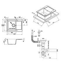 Кухонная мойка Lidz 625x500/200 BLA-03 (LIDZBLA03625500200), фото 2