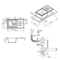 Кухонная мойка Lidz 780x435/200 WHI-01 (LIDZWHI01780435200), фото 2