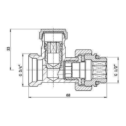 "Кран буксовый SD Forte 3/4""х1/2"" для радиатора нижний, фото 2"