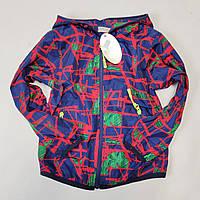 Детская куртка ветровка для мальчика абстракция красная 3-4 года