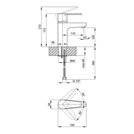 Смеситель для раковины Lidz (CRM) 46 78 001, фото 2
