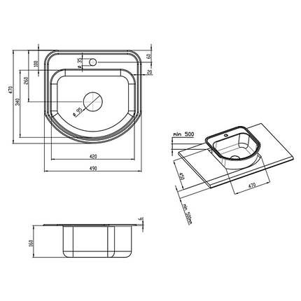 Кухонная мойка Lidz 4749 Decor 0,8 мм (LIDZ4749DEC), фото 2