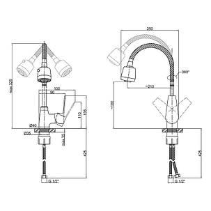 Смеситель для кухни с рефлекторным изливом Lidz (CRM)-20 38 014 04, фото 2