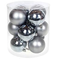 Пластикові новорічні кульки золотого кольору, набір 6 шт*6 см, фото 1