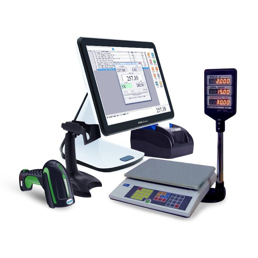 POS система для автоматизации торговли: Сенсорный терминал 15,6″, принтер, сканер с подставкой, весы + ПО