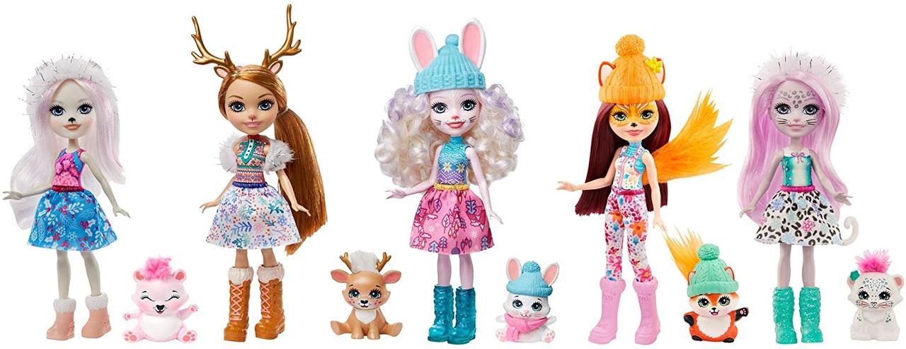 Куклы Enchantimals Энчантималс набор 5 кукол Снежный день с друзьями GXB20