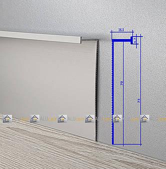 Плинтус  алюминиевый скрытого монтажа 70 мм анодированный, фото 2
