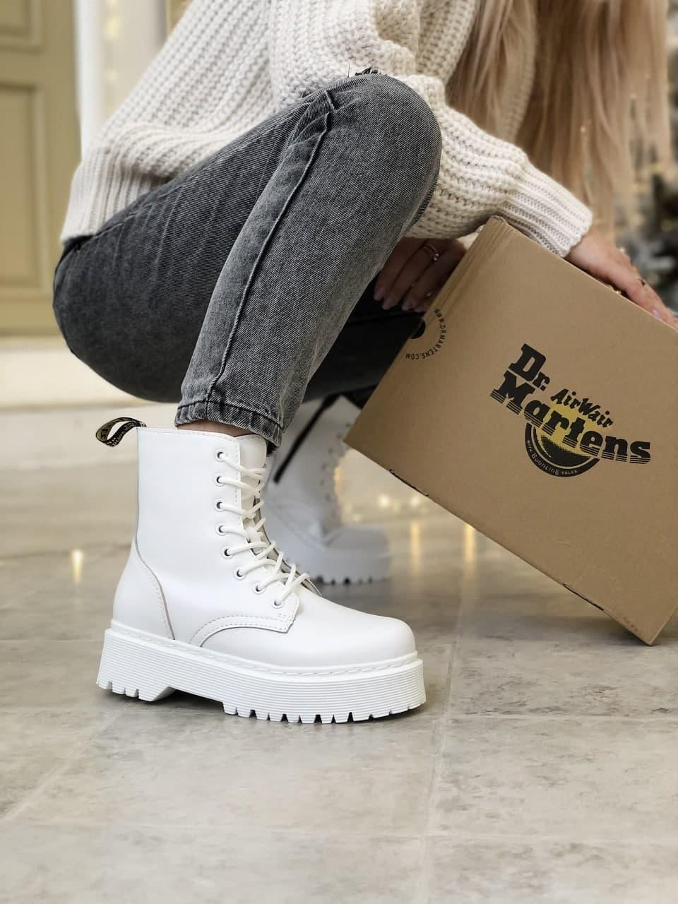 Женские ботинки Dr.Martens  белые(копия)