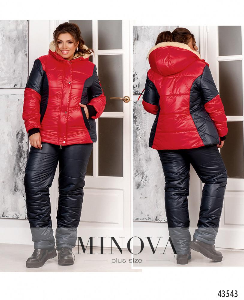 Зимовий костюм жіночий Куртка і штани Плащівка на синтепоні та підклад з овчини Розмір 50 52 54 56 58 60