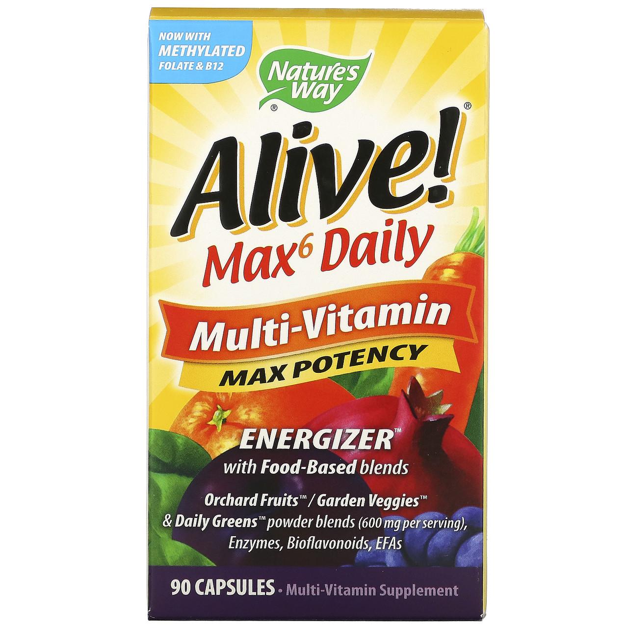 Мультивитаминный комплекс Alive! Max6 Daily, 90 растительных капсул, Nature's Way