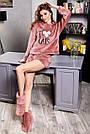 Махровый домашний костюм с ушками шортами женский терракотовый, фото 2