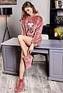 Махровый домашний костюм с ушками шортами женский терракотовый, фото 5